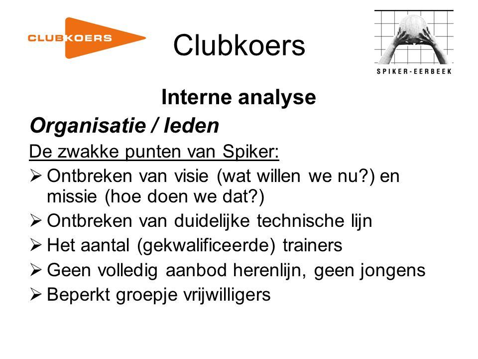 Clubkoers Interne analyse Organisatie / leden De zwakke punten van Spiker:  Ontbreken van visie (wat willen we nu?) en missie (hoe doen we dat?)  On