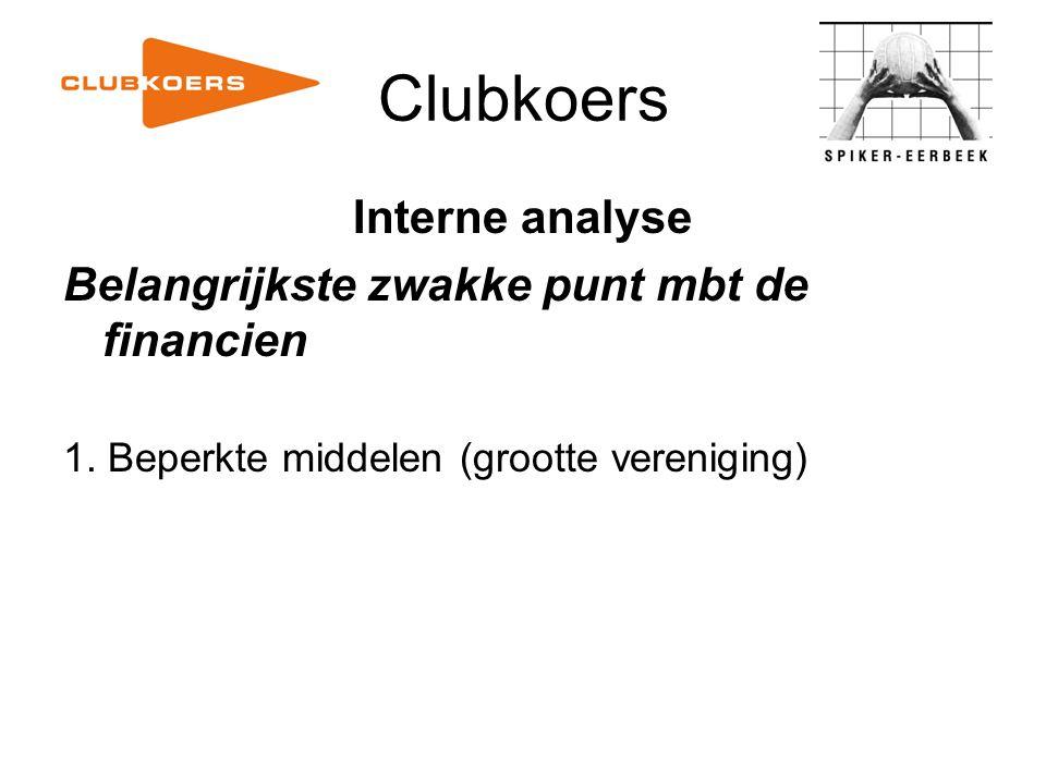 Clubkoers Interne analyse Belangrijkste zwakke punt mbt de financien 1. Beperkte middelen (grootte vereniging)