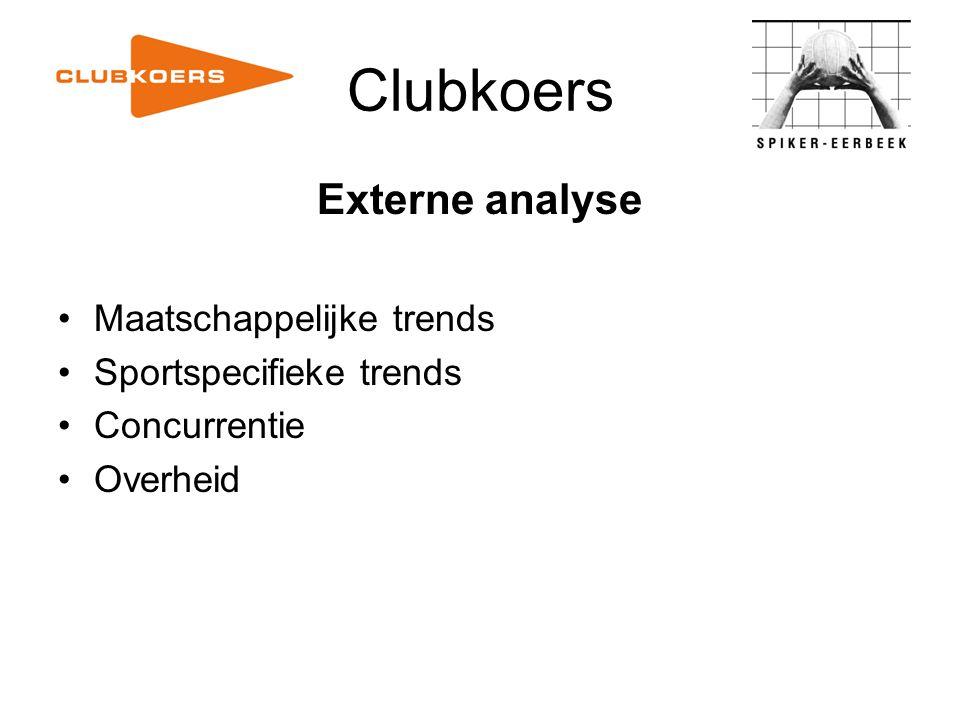 Clubkoers Externe analyse Maatschappelijke trends Sportspecifieke trends Concurrentie Overheid
