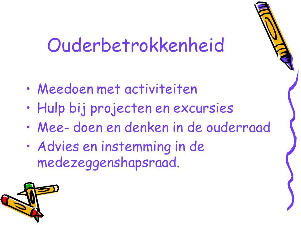 Ouderbetrokkenheid Meedoen met activiteiten Hulp bij projecten en excursies Mee- doen en denken in de ouderraad Advies en instemming in de medezeggens