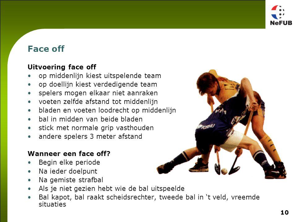 10 Face off Uitvoering face off op middenlijn kiest uitspelende team op doellijn kiest verdedigende team spelers mogen elkaar niet aanraken voeten zel
