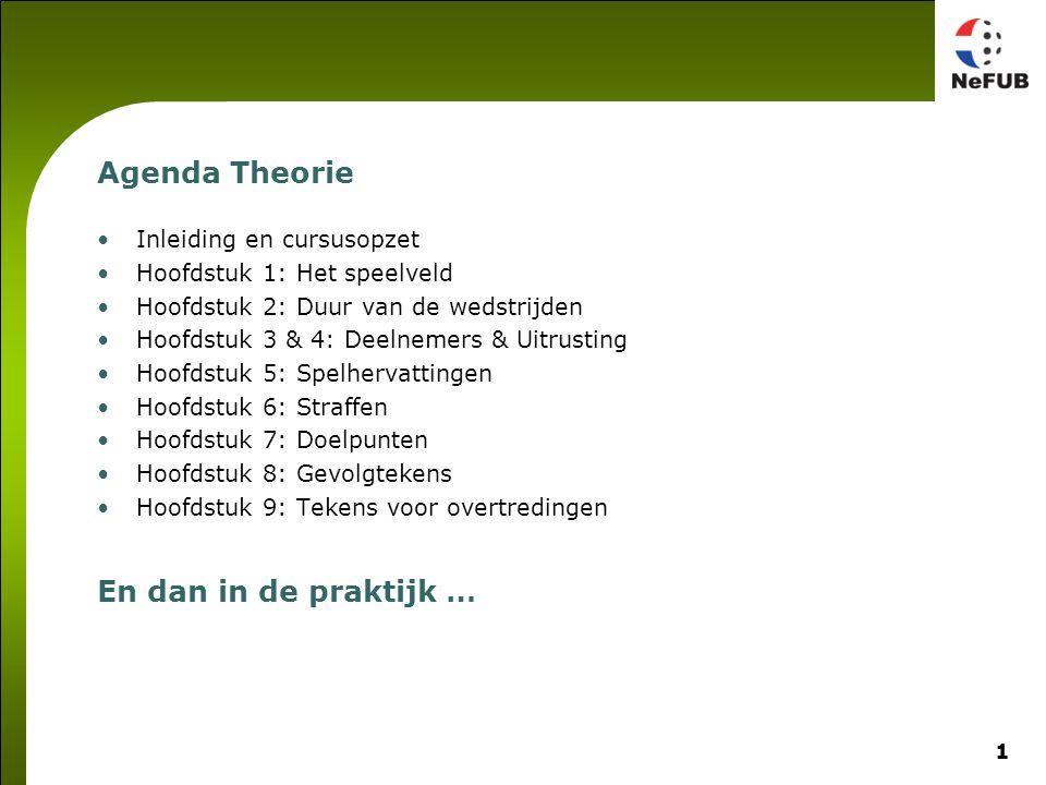 1 Agenda Theorie Inleiding en cursusopzet Hoofdstuk 1: Het speelveld Hoofdstuk 2: Duur van de wedstrijden Hoofdstuk 3 & 4: Deelnemers & Uitrusting Hoo