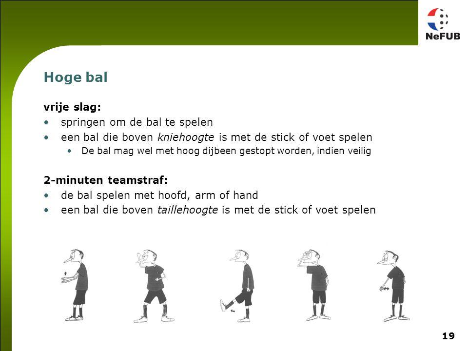 19 Hoge bal vrije slag: springen om de bal te spelen een bal die boven kniehoogte is met de stick of voet spelen De bal mag wel met hoog dijbeen gesto
