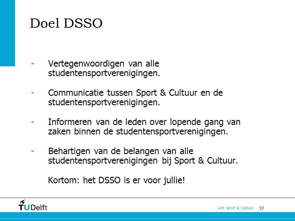 10 unit Sport & Cultuur Doel DSSO -Vertegenwoordigen van alle studentensportverenigingen.