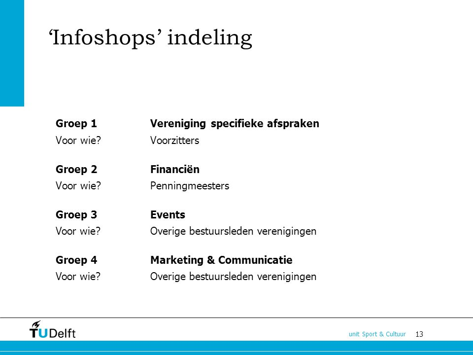 13 unit Sport & Cultuur Groep 1Vereniging specifieke afspraken Voor wie Voorzitters Groep 2 Financiën Voor wie Penningmeesters Groep 3Events Voor wie.