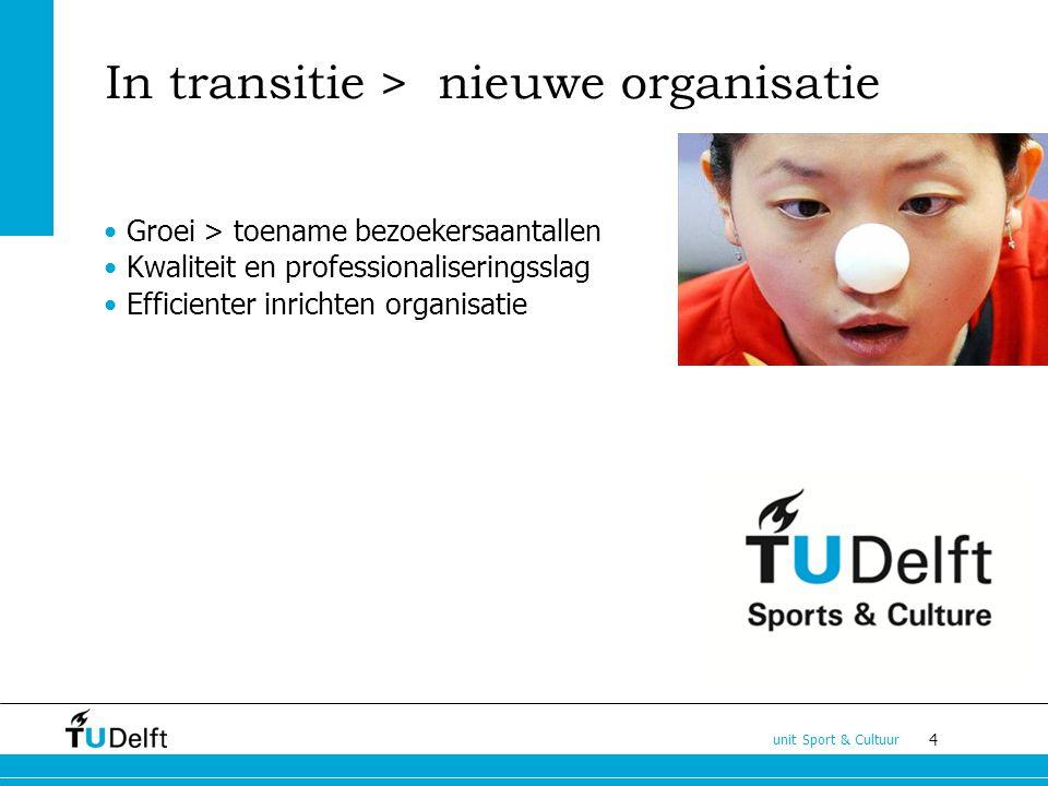 4 unit Sport & Cultuur In transitie > nieuwe organisatie Groei > toename bezoekersaantallen Kwaliteit en professionaliseringsslag Efficienter inrichten organisatie