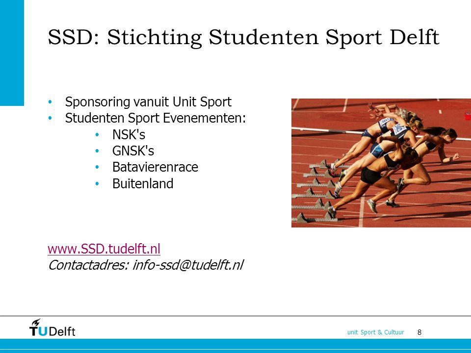 8 unit Sport & Cultuur SSD: Stichting Studenten Sport Delft Sponsoring vanuit Unit Sport Studenten Sport Evenementen: NSK s GNSK s Batavierenrace Buitenland www.SSD.tudelft.nl Contactadres: info-ssd@tudelft.nl