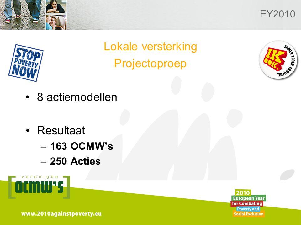 Logo van de desbetreffende sectie hier toevoegen EY2010 Lokale versterking Projectoproep 8 actiemodellen Resultaat –163 OCMW's –250 Acties