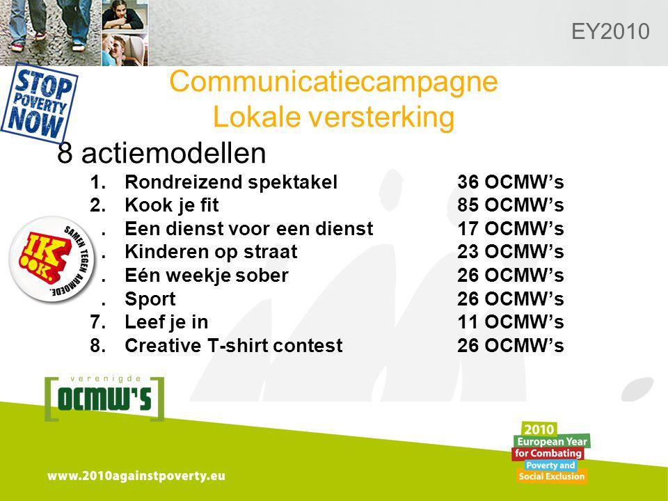 Logo van de desbetreffende sectie hier toevoegen EY2010 Communicatiecampagne Lokale versterking 8 actiemodellen 1.Rondreizend spektakel36 OCMW's 2.Kook je fit85 OCMW's 3.Een dienst voor een dienst17 OCMW's 4.Kinderen op straat23 OCMW's 5.Eén weekje sober26 OCMW's 6.Sport26 OCMW's 7.Leef je in11 OCMW's 8.Creative T-shirt contest26 OCMW's