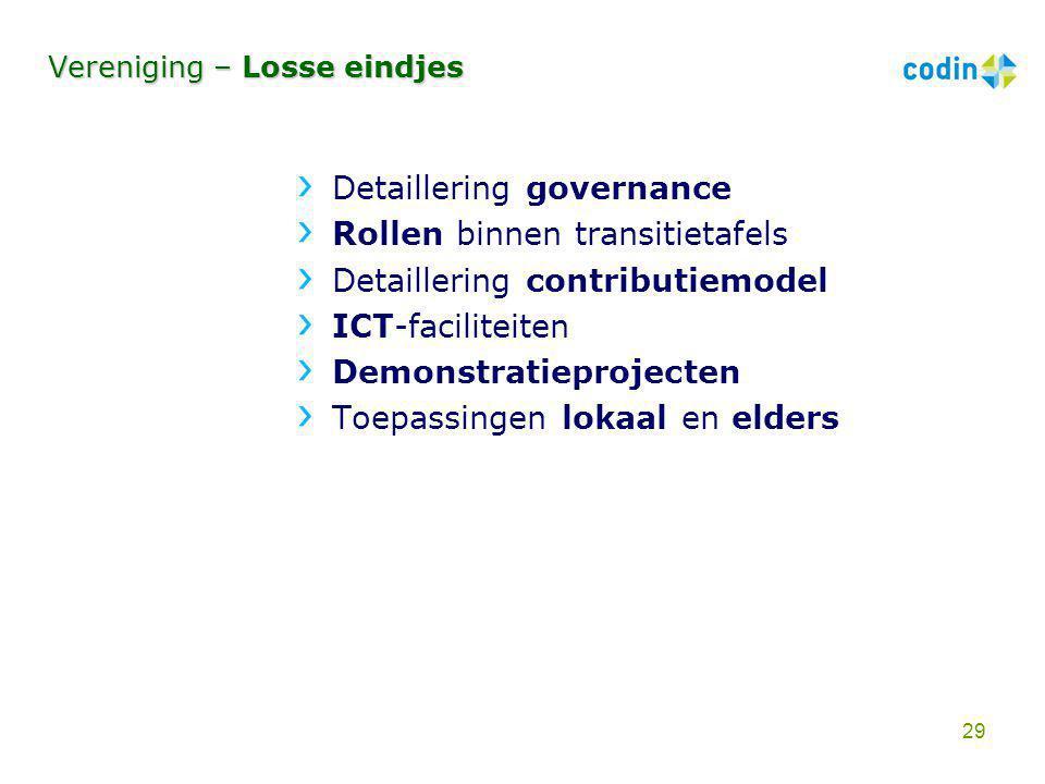 Vereniging – Losse eindjes Detaillering governance Rollen binnen transitietafels Detaillering contributiemodel ICT-faciliteiten Demonstratieprojecten
