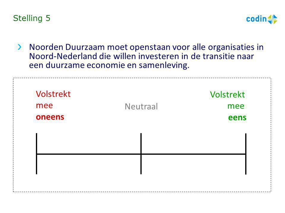 Stelling 5 Noorden Duurzaam moet openstaan voor alle organisaties in Noord-Nederland die willen investeren in de transitie naar een duurzame economie