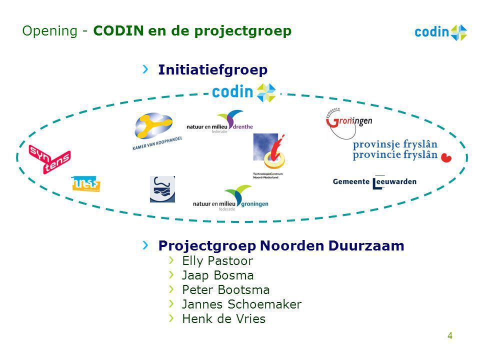 Opening - CODIN en de projectgroep Initiatiefgroep Projectgroep Noorden Duurzaam Elly Pastoor Jaap Bosma Peter Bootsma Jannes Schoemaker Henk de Vries