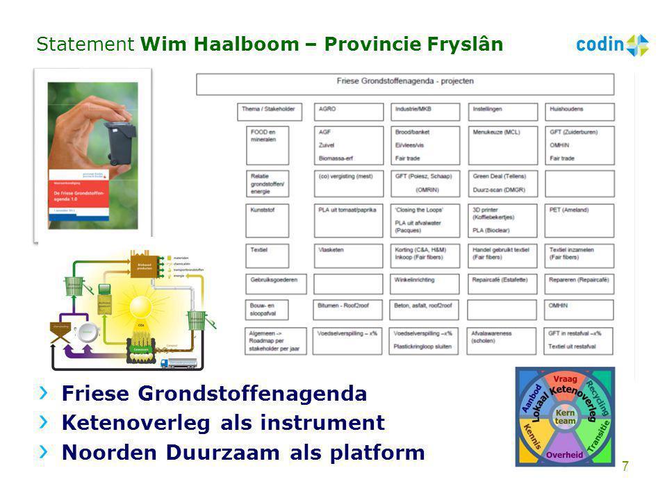 Statement Wim Haalboom – Provincie Fryslân Friese Grondstoffenagenda Ketenoverleg als instrument Noorden Duurzaam als platform 7