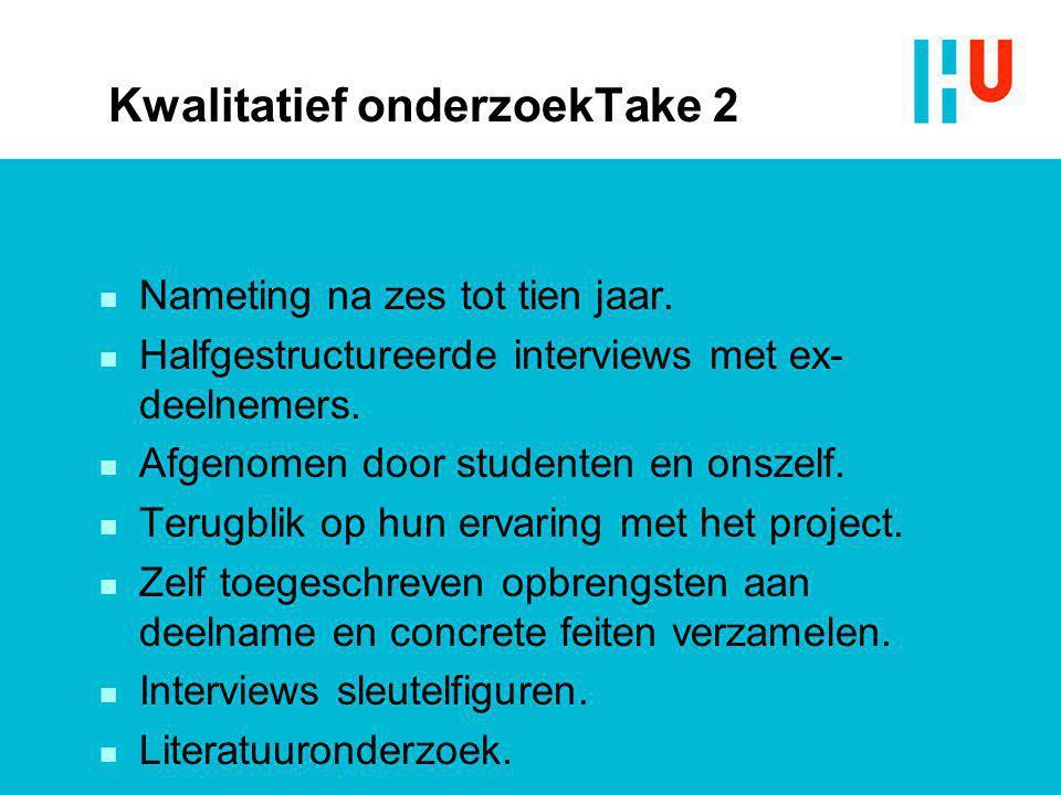 Kwalitatief onderzoekTake 2 n Nameting na zes tot tien jaar. n Halfgestructureerde interviews met ex- deelnemers. n Afgenomen door studenten en onszel