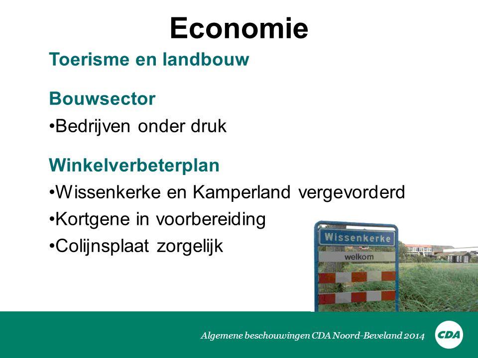 Algemene beschouwingen CDA Noord-Beveland 2014 Economie Toerisme en landbouw Bouwsector Bedrijven onder druk Winkelverbeterplan Wissenkerke en Kamperl