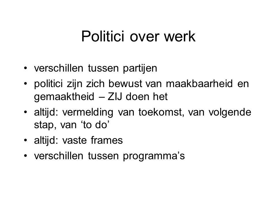 Politici over werk verschillen tussen partijen politici zijn zich bewust van maakbaarheid en gemaaktheid – ZIJ doen het altijd: vermelding van toekoms