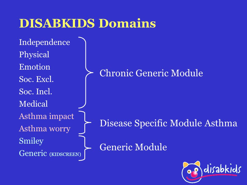 DISABKIDS Domains Independence Physical Emotion Soc.