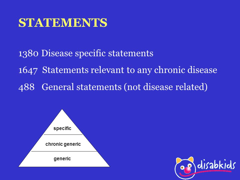 STATEMENTS 1380 Disease specific statements 1647 Statements relevant to any chronic disease 488 General statements (not disease related) generic chronic generic specific