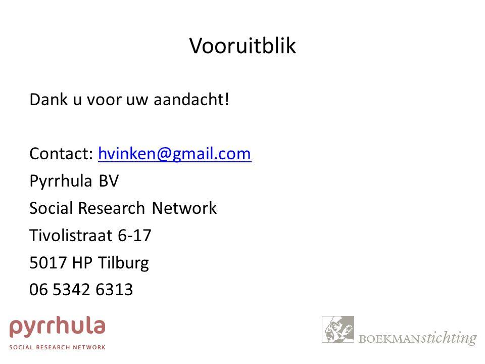Vooruitblik Dank u voor uw aandacht! Contact: hvinken@gmail.comhvinken@gmail.com Pyrrhula BV Social Research Network Tivolistraat 6-17 5017 HP Tilburg