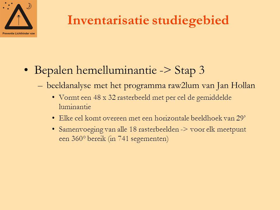 Inventarisatie studiegebied Bepalen hemelluminantie -> Stap 3 –beeldanalyse met het programma raw2lum van Jan Hollan Vormt een 48 x 32 rasterbeeld met