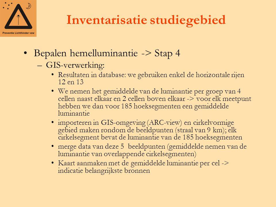 Inventarisatie studiegebied Bepalen hemelluminantie -> Stap 4 –GIS-verwerking: Resultaten in database: we gebruiken enkel de horizontale rijen 12 en 1