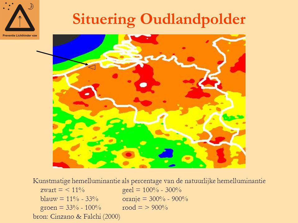 Situering Oudlandpolder Kunstmatige hemelluminantie als percentage van de natuurlijke hemelluminantie zwart = 900% bron: Cinzano & Falchi (2000)