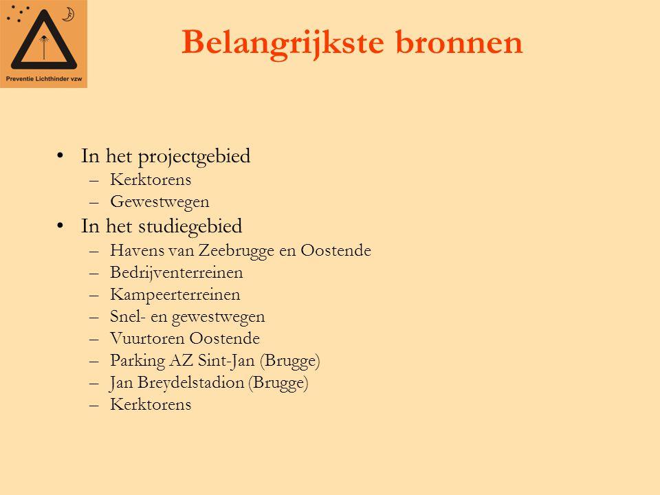 Belangrijkste bronnen In het projectgebied –Kerktorens –Gewestwegen In het studiegebied –Havens van Zeebrugge en Oostende –Bedrijventerreinen –Kampeerterreinen –Snel- en gewestwegen –Vuurtoren Oostende –Parking AZ Sint-Jan (Brugge) –Jan Breydelstadion (Brugge) –Kerktorens
