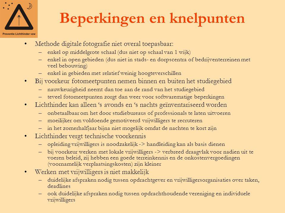 Beperkingen en knelpunten Methode digitale fotografie niet overal toepasbaar: –enkel op middelgrote schaal (dus niet op schaal van 1 wijk) –enkel in o