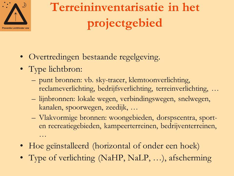 Terreininventarisatie in het projectgebied Overtredingen bestaande regelgeving.