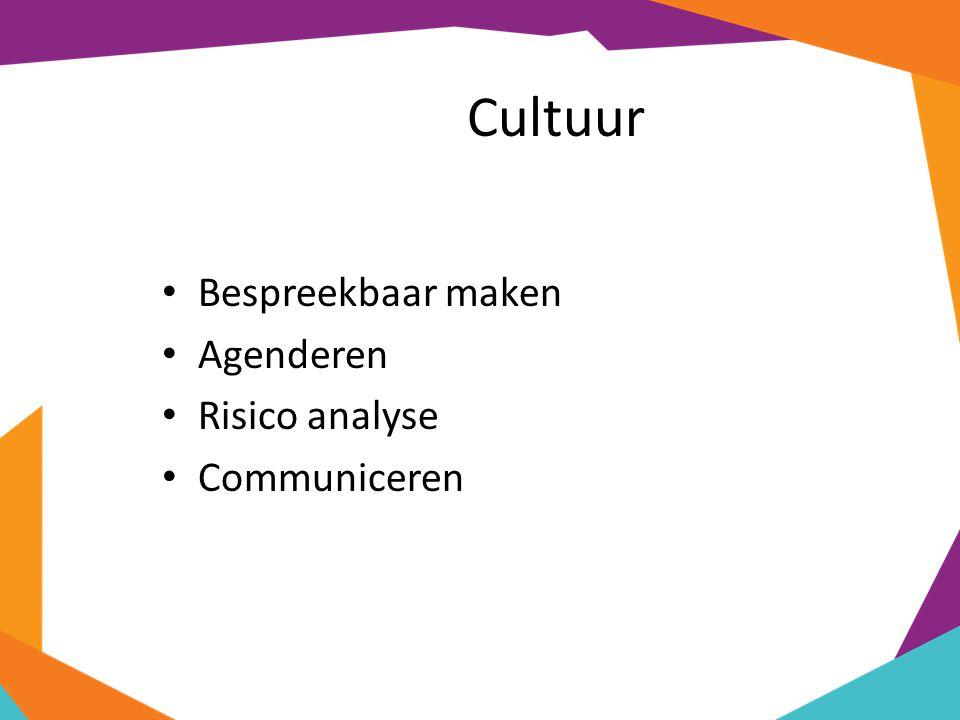 Cultuur Bespreekbaar maken Agenderen Risico analyse Communiceren