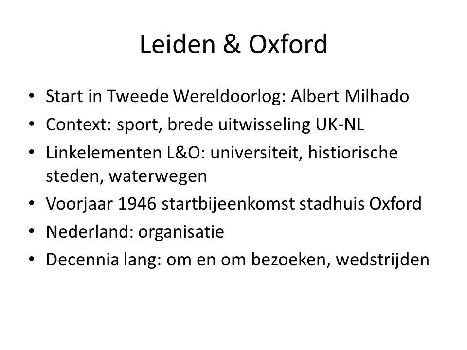 Leiden & Oxford Start in Tweede Wereldoorlog: Albert Milhado Context: sport, brede uitwisseling UK-NL Linkelementen L&O: universiteit, histiorische steden, waterwegen Voorjaar 1946 startbijeenkomst stadhuis Oxford Nederland: organisatie Decennia lang: om en om bezoeken, wedstrijden