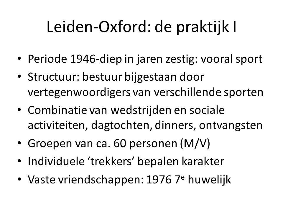 Leiden-Oxford: de praktijk I Periode 1946-diep in jaren zestig: vooral sport Structuur: bestuur bijgestaan door vertegenwoordigers van verschillende sporten Combinatie van wedstrijden en sociale activiteiten, dagtochten, dinners, ontvangsten Groepen van ca.