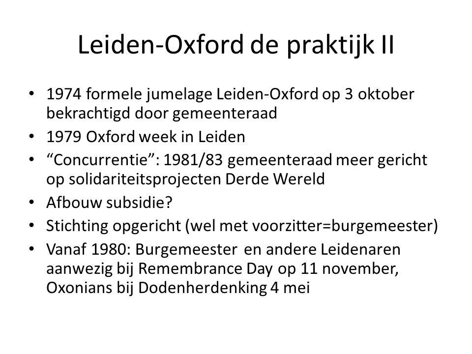 Leiden-Oxford de praktijk II 1974 formele jumelage Leiden-Oxford op 3 oktober bekrachtigd door gemeenteraad 1979 Oxford week in Leiden Concurrentie : 1981/83 gemeenteraad meer gericht op solidariteitsprojecten Derde Wereld Afbouw subsidie.