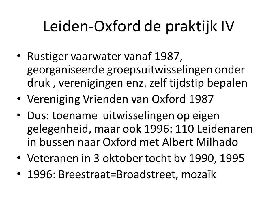 Leiden-Oxford de praktijk IV Rustiger vaarwater vanaf 1987, georganiseerde groepsuitwisselingen onder druk, verenigingen enz.