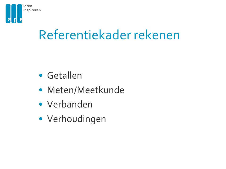 Referentiekader rekenen Getallen Meten/Meetkunde Verbanden Verhoudingen