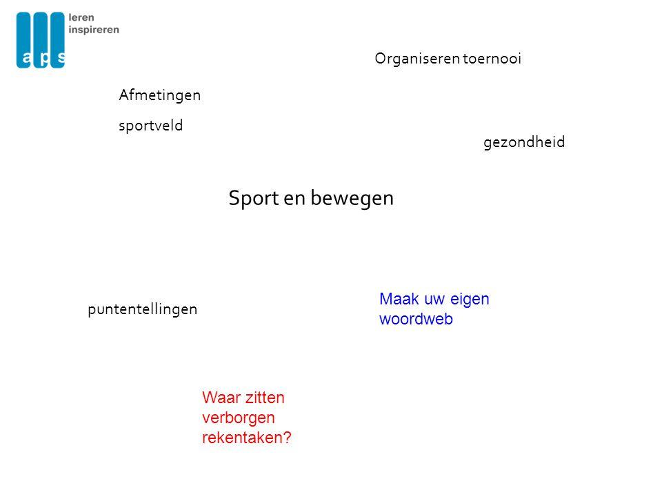 Sport en bewegen Afmetingen sportveld Organiseren toernooi puntentellingen Maak uw eigen woordweb gezondheid Waar zitten verborgen rekentaken