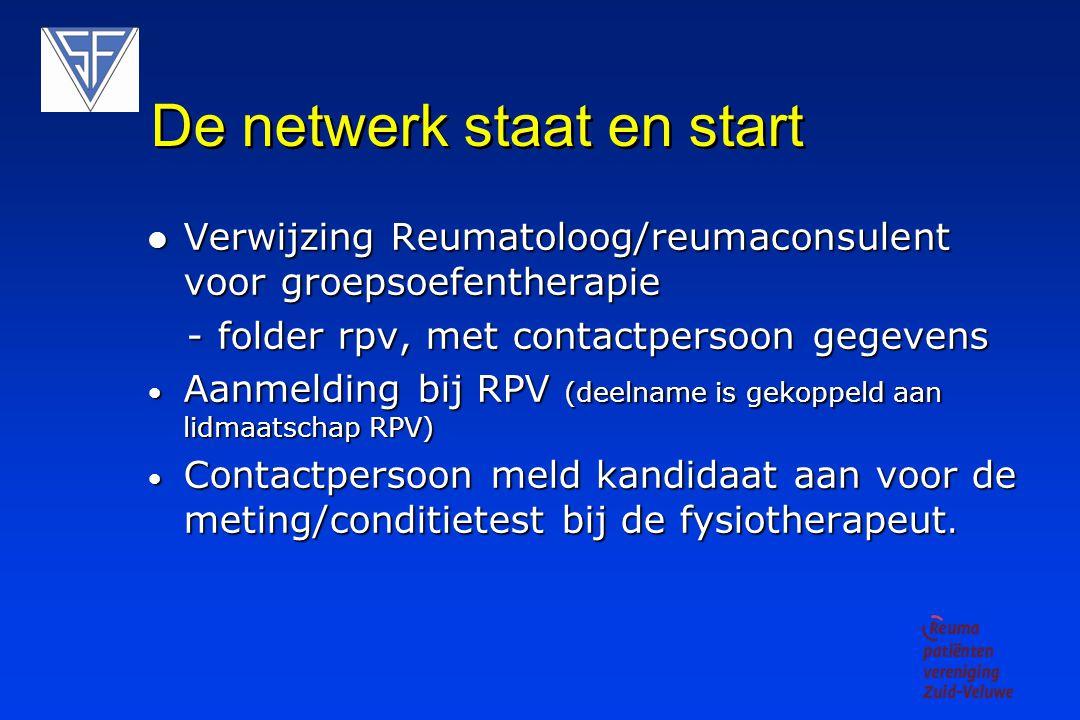 De netwerk staat en start Verwijzing Reumatoloog/reumaconsulent voor groepsoefentherapie Verwijzing Reumatoloog/reumaconsulent voor groepsoefentherapie - folder rpv, met contactpersoon gegevens - folder rpv, met contactpersoon gegevens Aanmelding bij RPV (deelname is gekoppeld aan lidmaatschap RPV) Aanmelding bij RPV (deelname is gekoppeld aan lidmaatschap RPV) Contactpersoon meld kandidaat aan voor de meting/conditietest bij de fysiotherapeut.