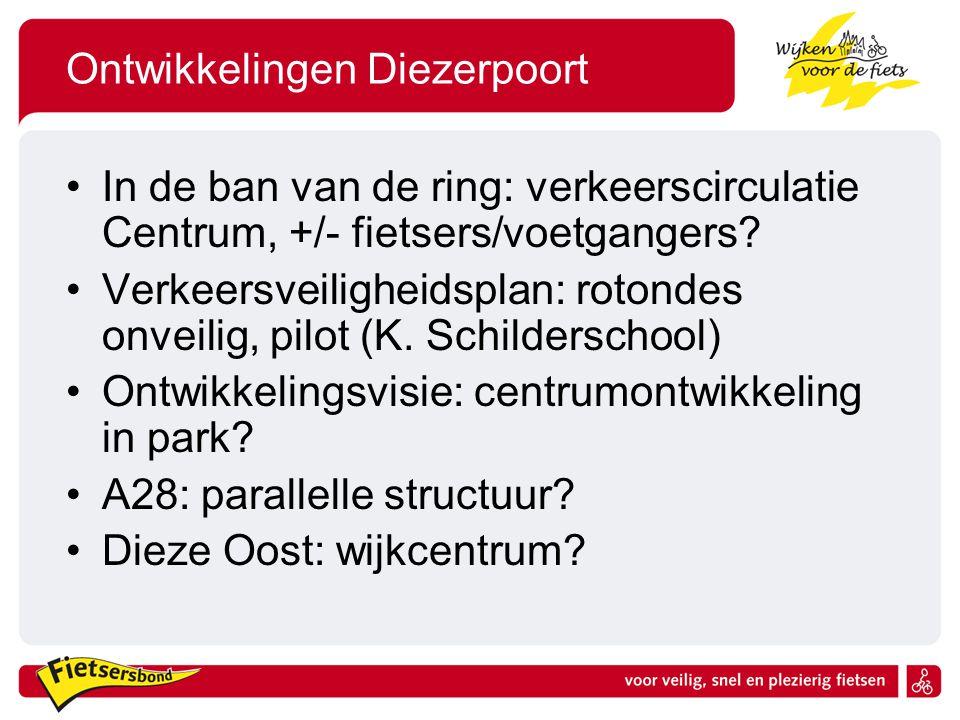 Ontwikkelingen Diezerpoort In de ban van de ring: verkeerscirculatie Centrum, +/- fietsers/voetgangers.