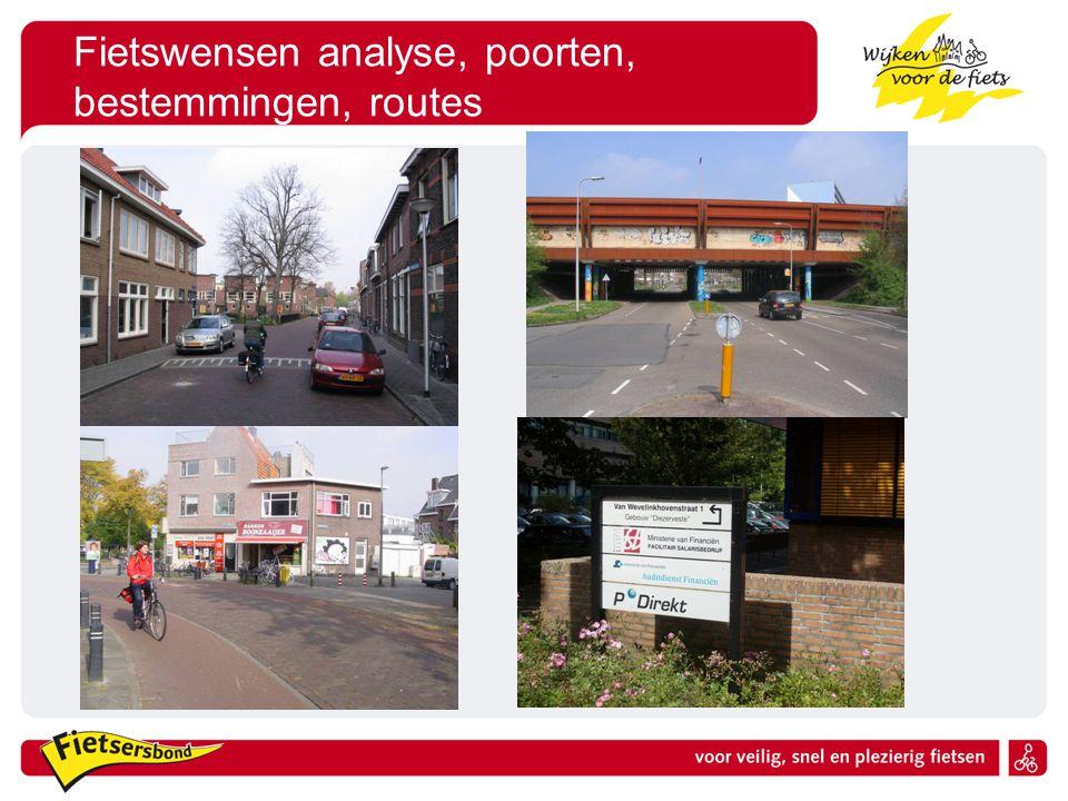 Fietswensen analyse, poorten, bestemmingen, routes