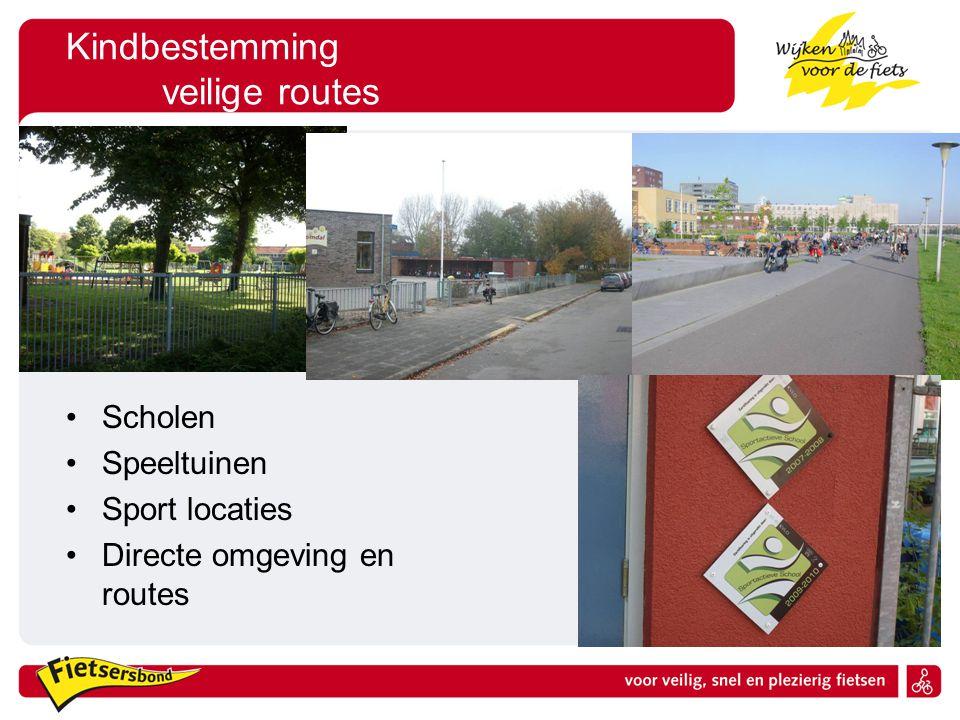 Kindbestemming veilige routes Scholen Speeltuinen Sport locaties Directe omgeving en routes