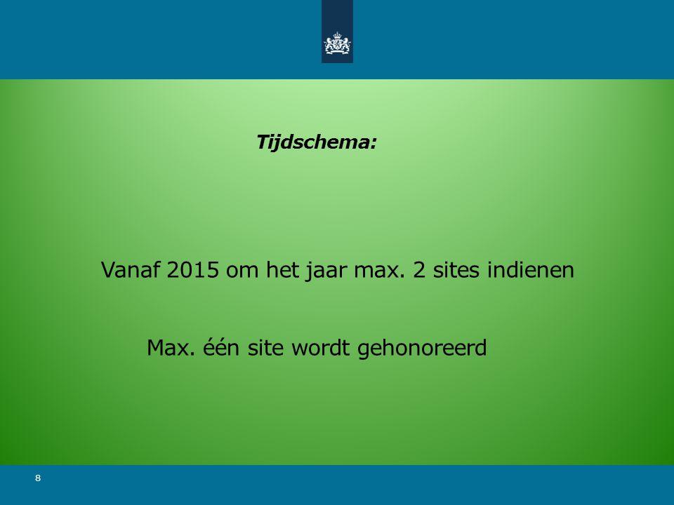 8 Tijdschema: Vanaf 2015 om het jaar max. 2 sites indienen Max. één site wordt gehonoreerd