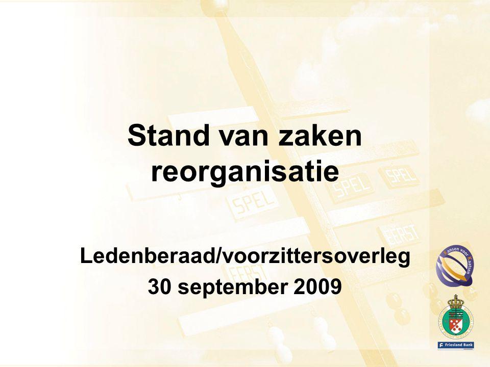 Stand van zaken reorganisatie Ledenberaad/voorzittersoverleg 30 september 2009