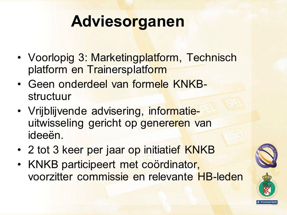 Adviesorganen Voorlopig 3: Marketingplatform, Technisch platform en Trainersplatform Geen onderdeel van formele KNKB- structuur Vrijblijvende advisering, informatie- uitwisseling gericht op genereren van ideeën.