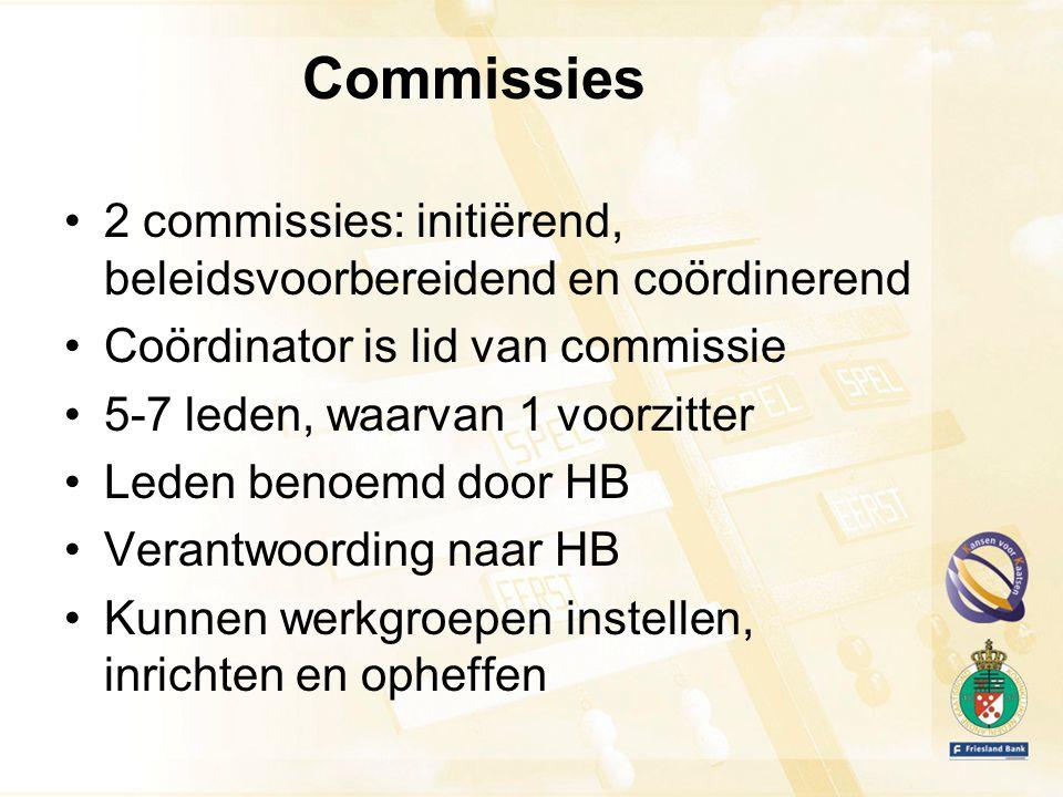 Commissies 2 commissies: initiërend, beleidsvoorbereidend en coördinerend Coördinator is lid van commissie 5-7 leden, waarvan 1 voorzitter Leden benoemd door HB Verantwoording naar HB Kunnen werkgroepen instellen, inrichten en opheffen