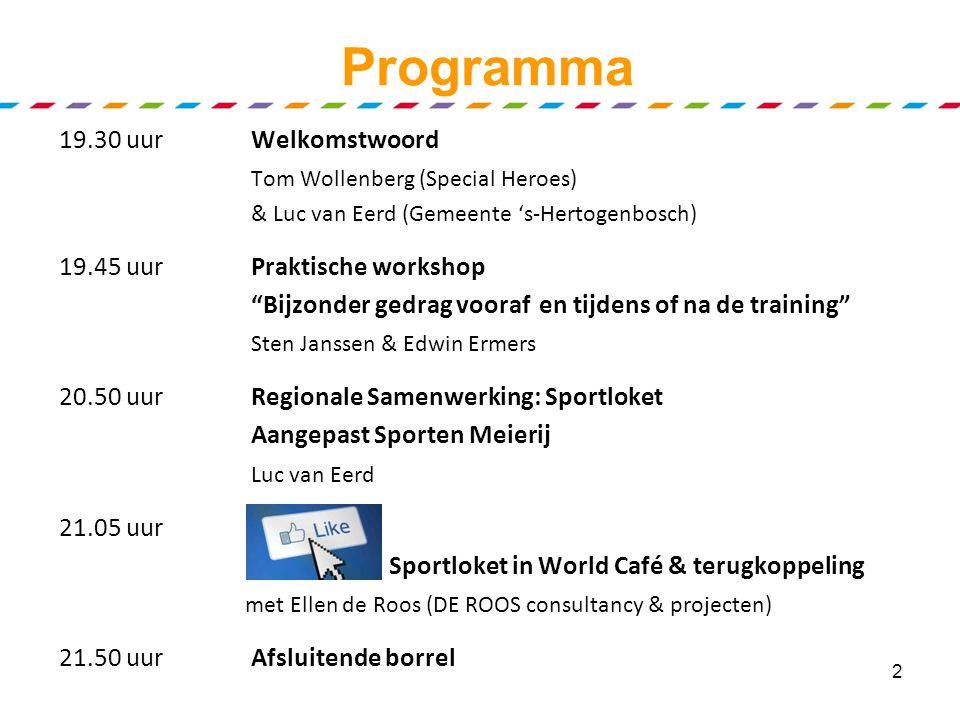 Voorbeeld tafellaken SpecialSportloket Regionaal Platform centraal Samenvatting discussie Ieders persoonlijke aantekeningen