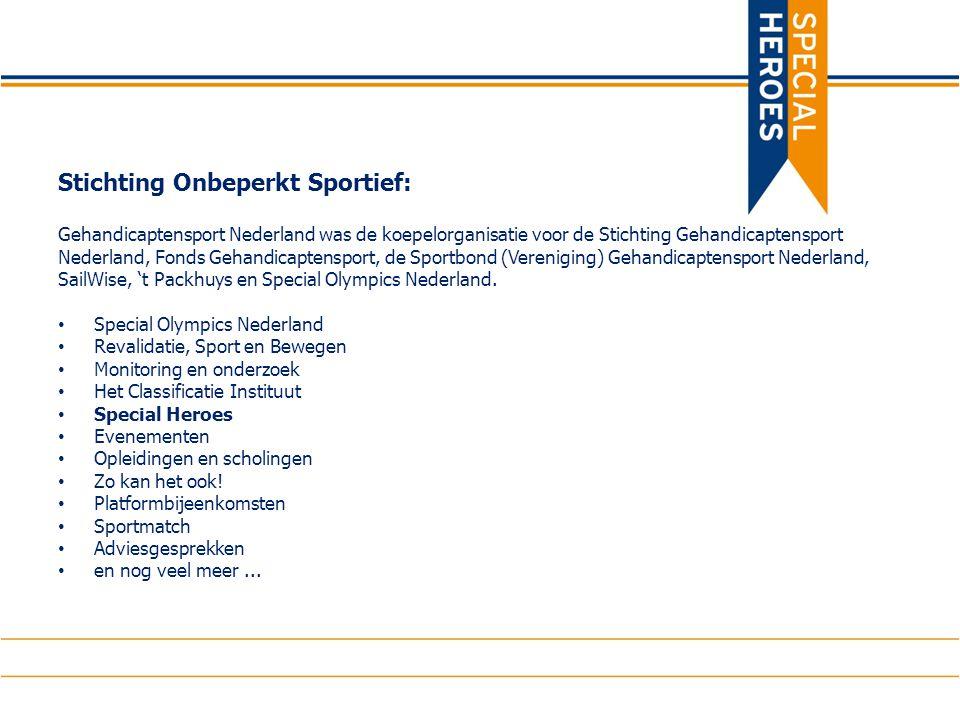 Stichting Onbeperkt Sportief: Gehandicaptensport Nederland was de koepelorganisatie voor de Stichting Gehandicaptensport Nederland, Fonds Gehandicaptensport, de Sportbond (Vereniging) Gehandicaptensport Nederland, SailWise, 't Packhuys en Special Olympics Nederland.