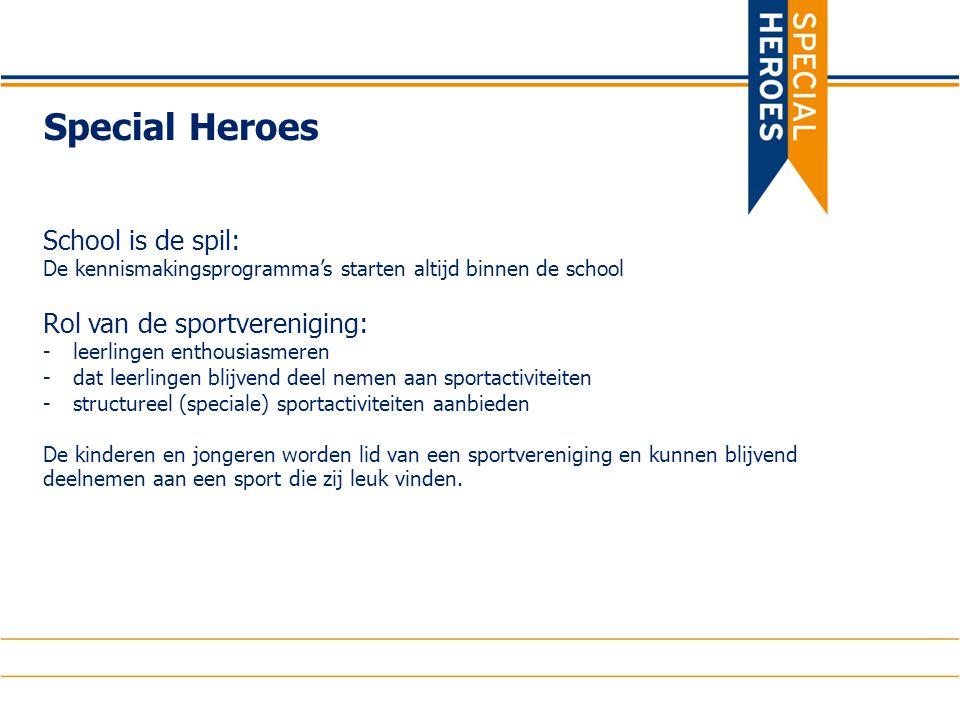 Special Heroes School is de spil: De kennismakingsprogramma's starten altijd binnen de school Rol van de sportvereniging: -leerlingen enthousiasmeren -dat leerlingen blijvend deel nemen aan sportactiviteiten -structureel (speciale) sportactiviteiten aanbieden De kinderen en jongeren worden lid van een sportvereniging en kunnen blijvend deelnemen aan een sport die zij leuk vinden.