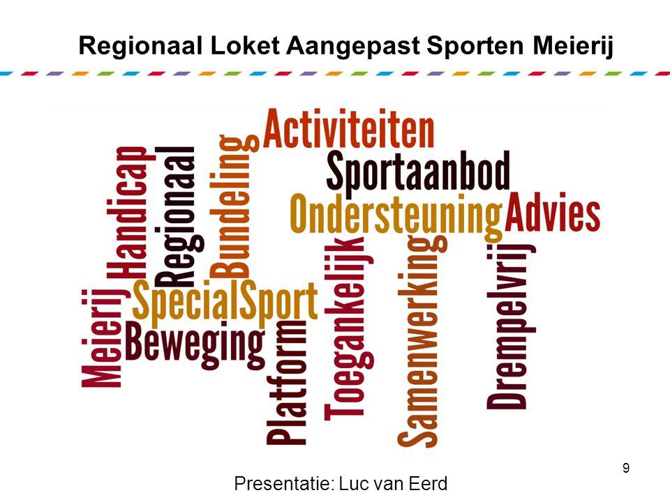 Regionaal Loket Aangepast Sporten Meierij 9 Presentatie: Luc van Eerd