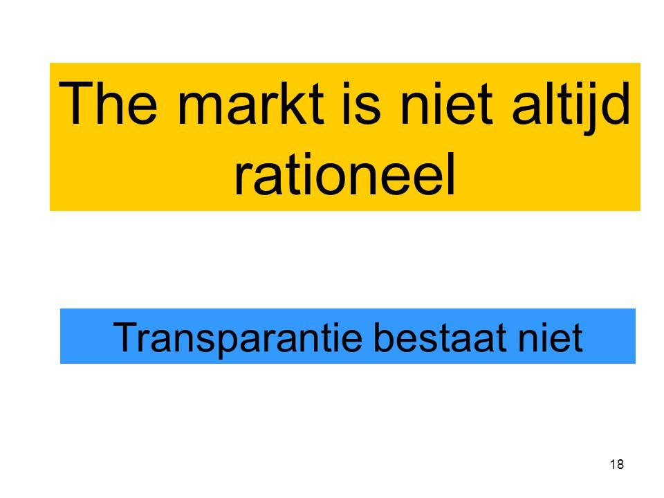 18 The markt is niet altijd rationeel Transparantie bestaat niet