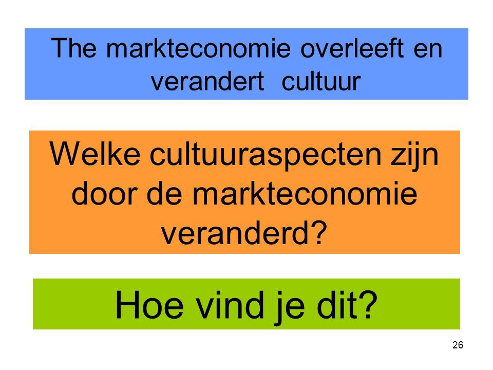 26 The markteconomie overleeft en verandert cultuur Welke cultuuraspecten zijn door de markteconomie veranderd.